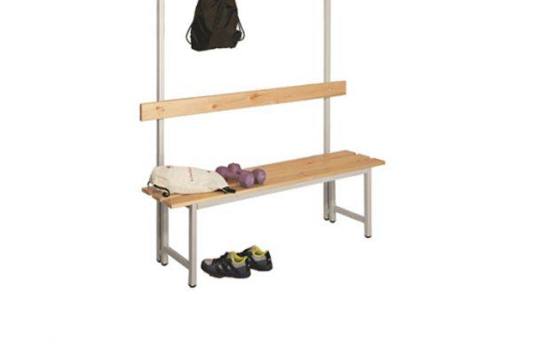 Panchina 1 metro in legno con cappelliera