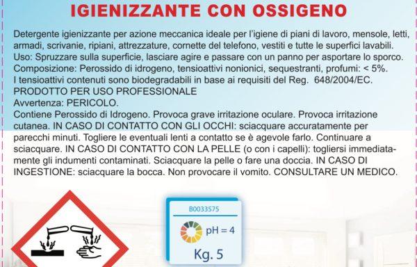 M15 OXYGEN – Igienizzante detergente PEROSSIDO DI IDROGENO – Tanica 5 Kg