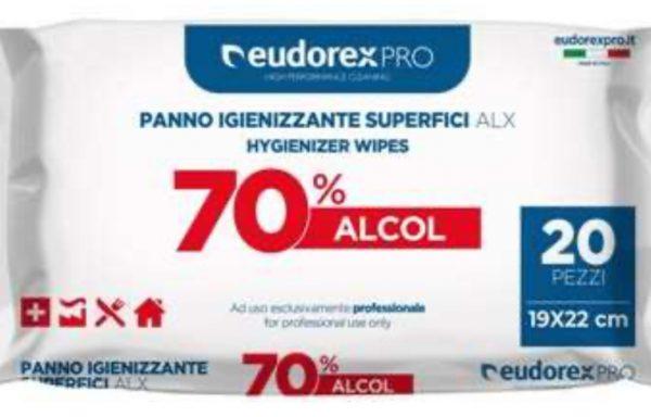 SALVIETTA IGIENIZZANTE SUPERFICI EUDOREX ALX – BOX 20 PZ